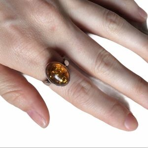Amber Oval 925 Silver Ring